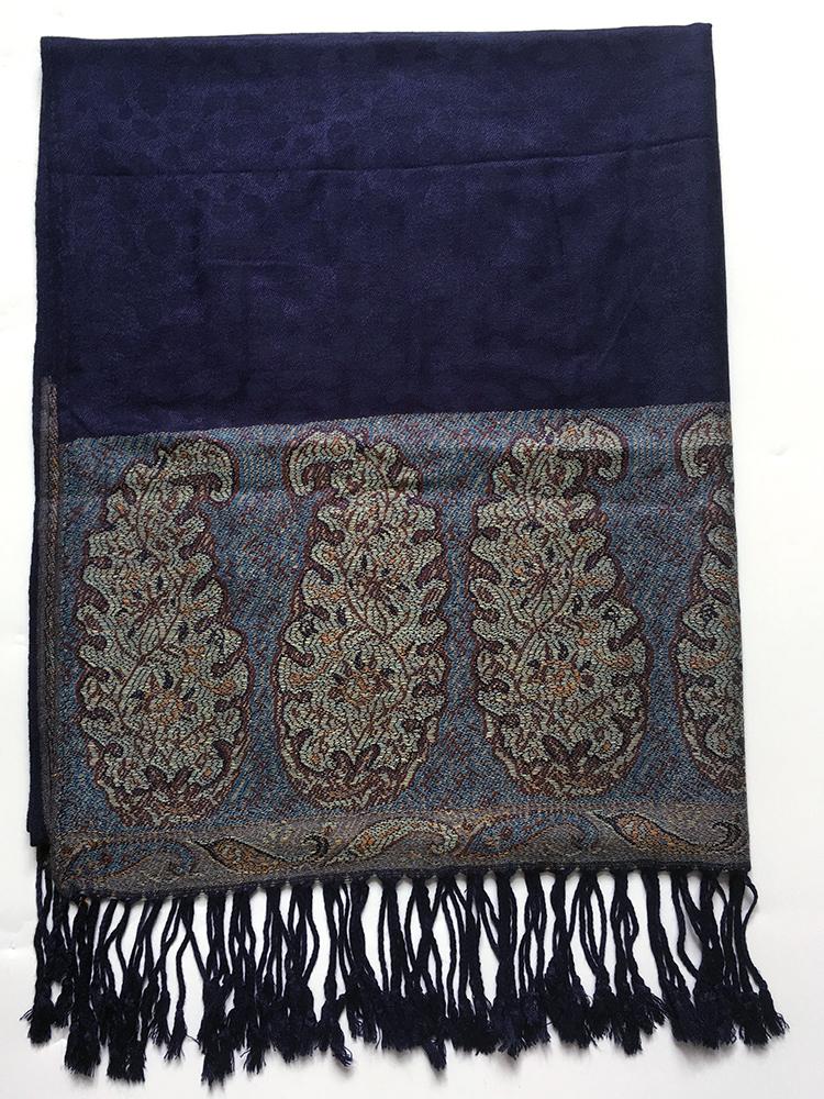 Blå pashmina med paisley mønster