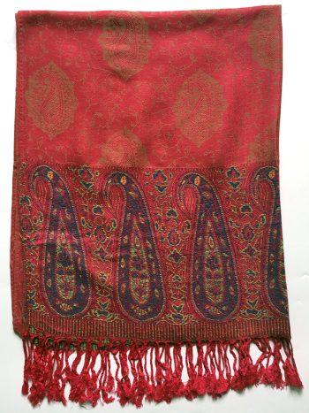 Rødt pashmina tørklæde