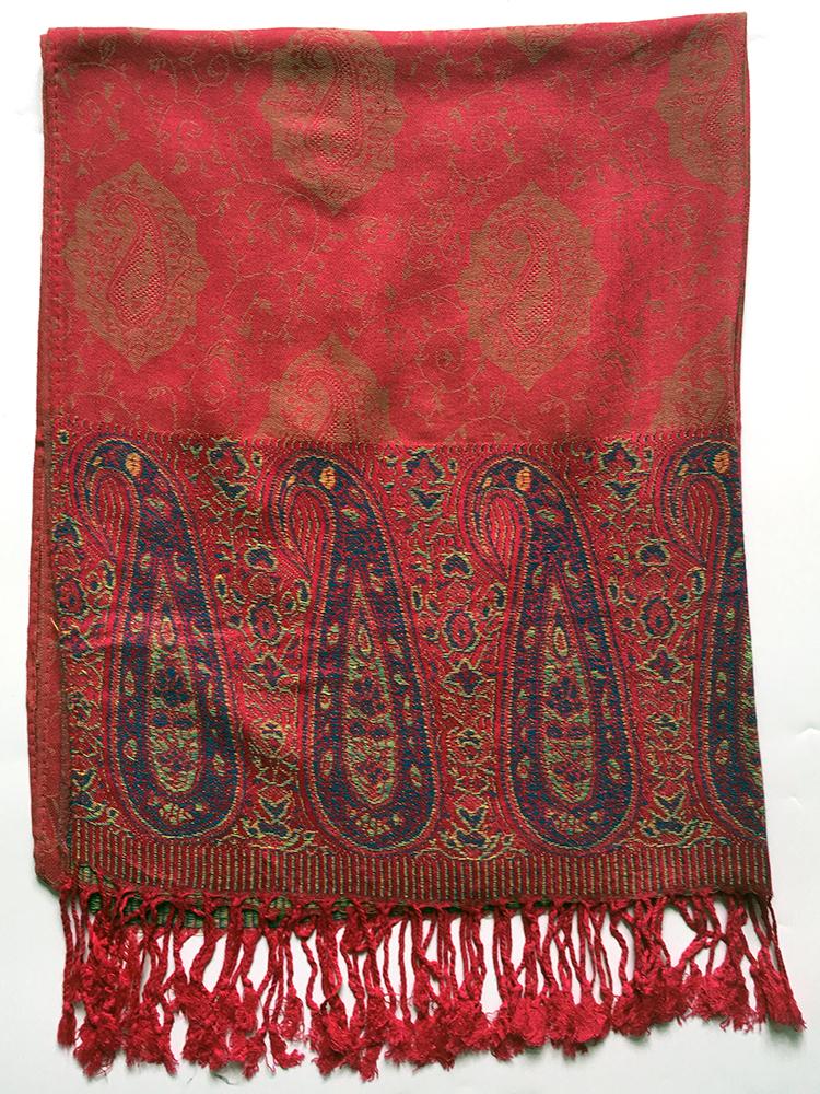 71b7435c Rødt pashmina tørklæde med paisley mønster - Pashmina House