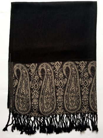 Sort pashmina tørklæde