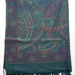 11409cce Blåt pashmina tørklæde med paisley mønster - Pashmina House